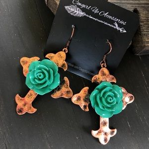 Jewelry - Copper & Turquoise Cross Floral Earrings